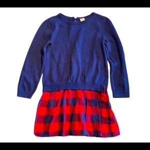 Carter's Girls plaid red and navy sweater dress